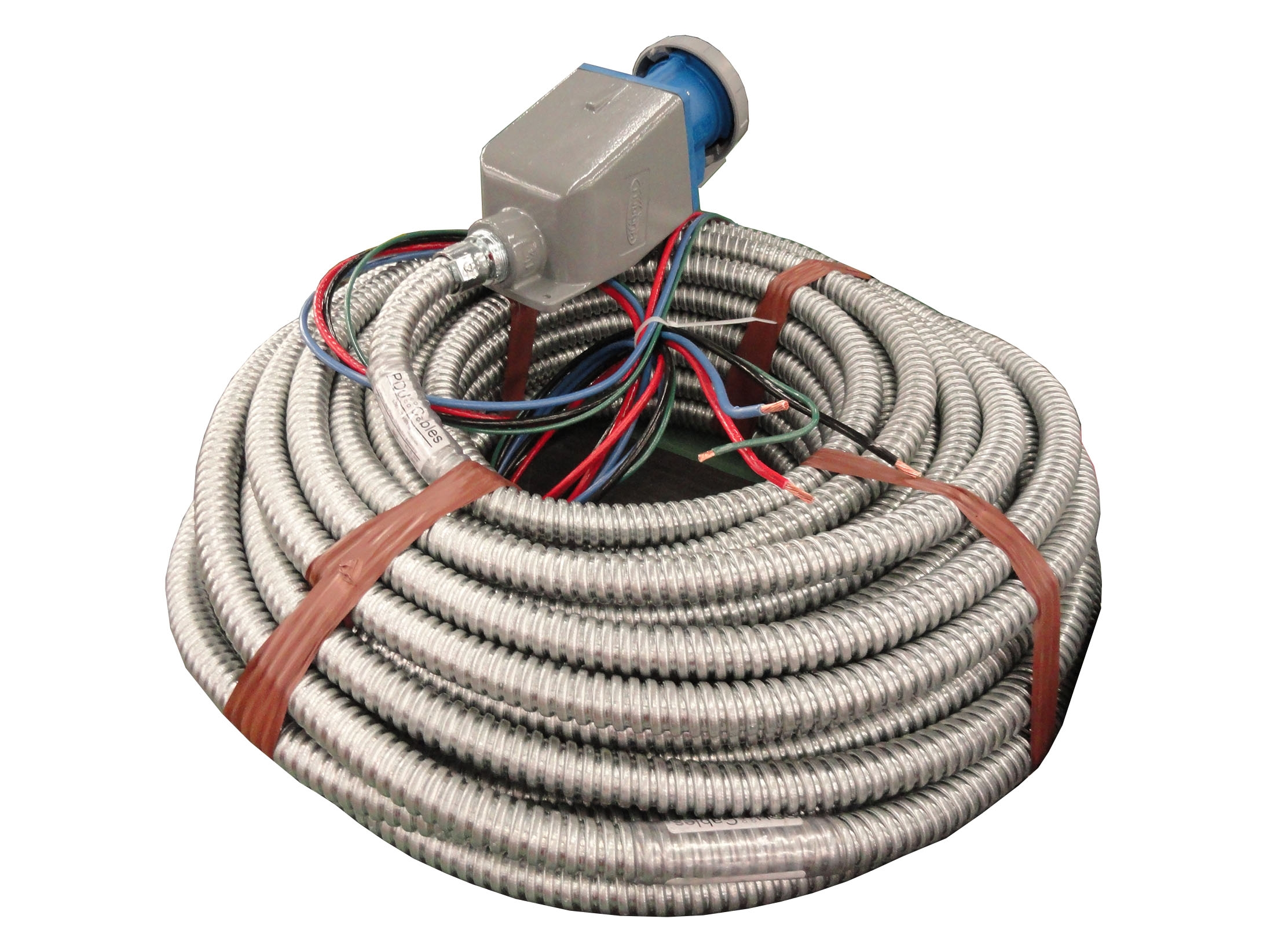 240 foot long Flexible Metal Conduit Cable Assembly with IEC309 device in a back box