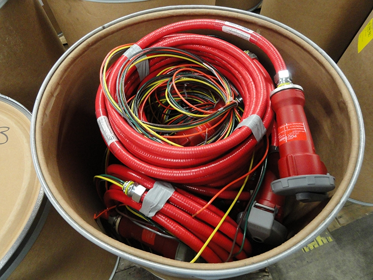Type LFMC - Red Conduit with IEC309 Device in a Fiber Barrel