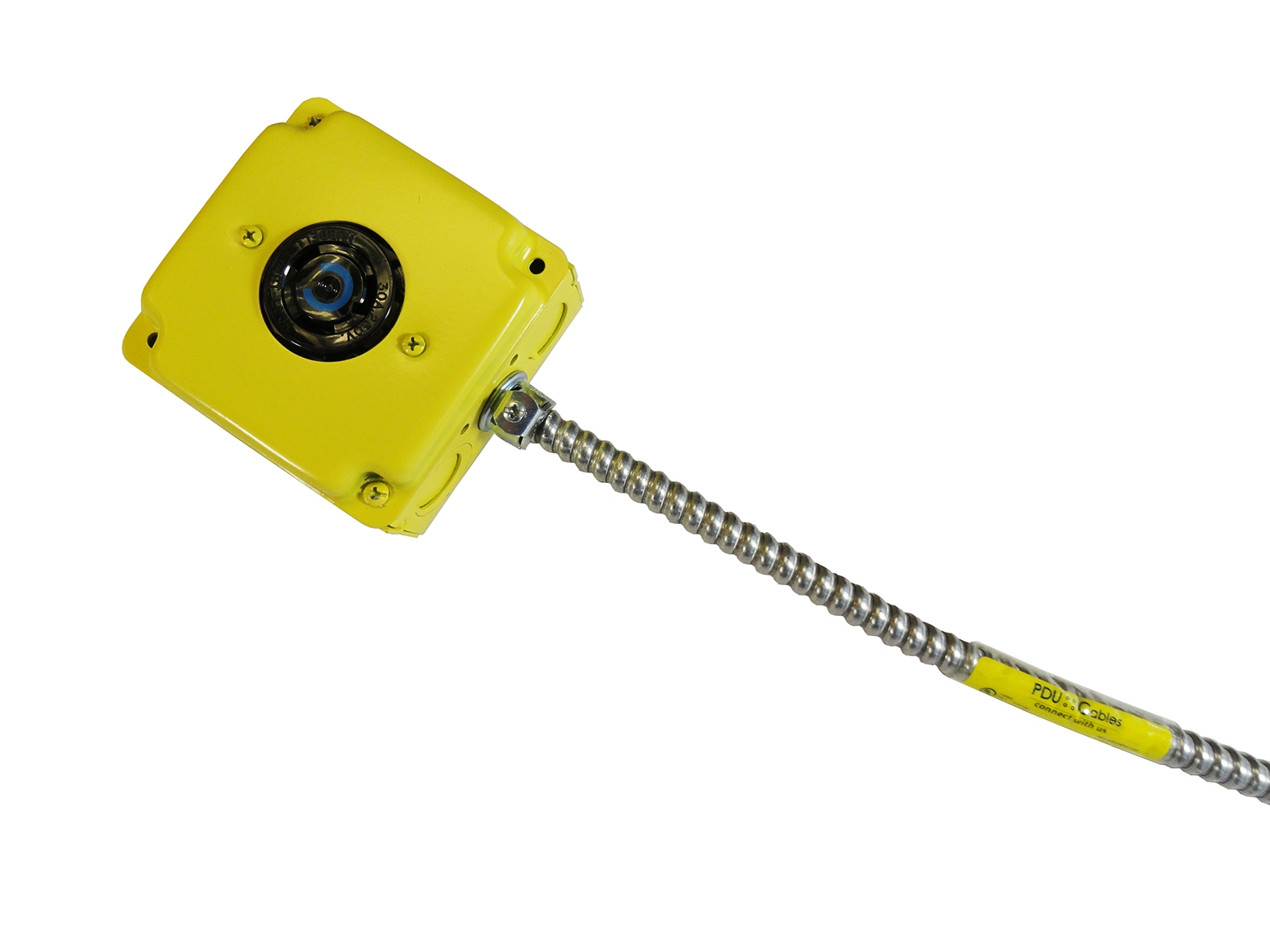 MC (Metal Clad) Cable Assembly with yellow box and conduit label