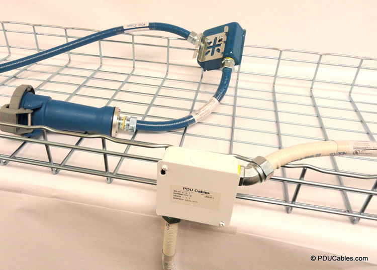 Data center power whips mounted to cable tray using field wire j-box and drop cord