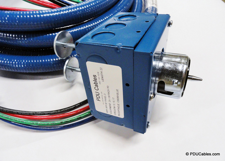 Color matched blue 1900 style box, faceplate and conduit with NEMA CS8369 with twin uni-strut mounting bolt and box label and color matched liquid-tight conduit
