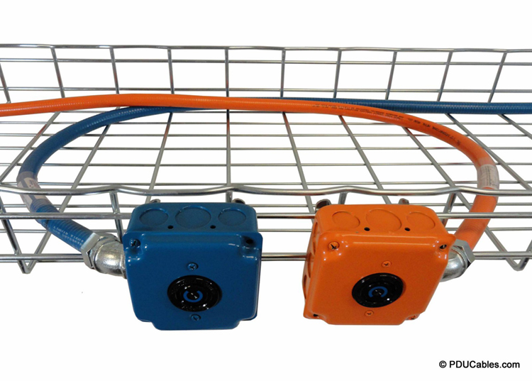 Power cables secured to overhead cable tray