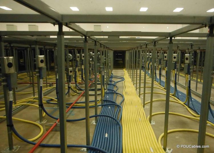 Under raised floor pedestal clamp mounted data center power whips