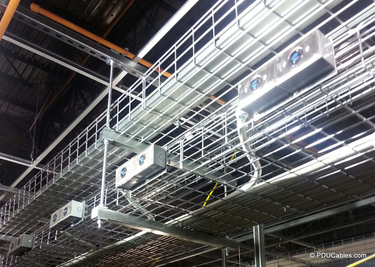 Multi-circuit data center power cables mounted to cable tray rack with mounting ears