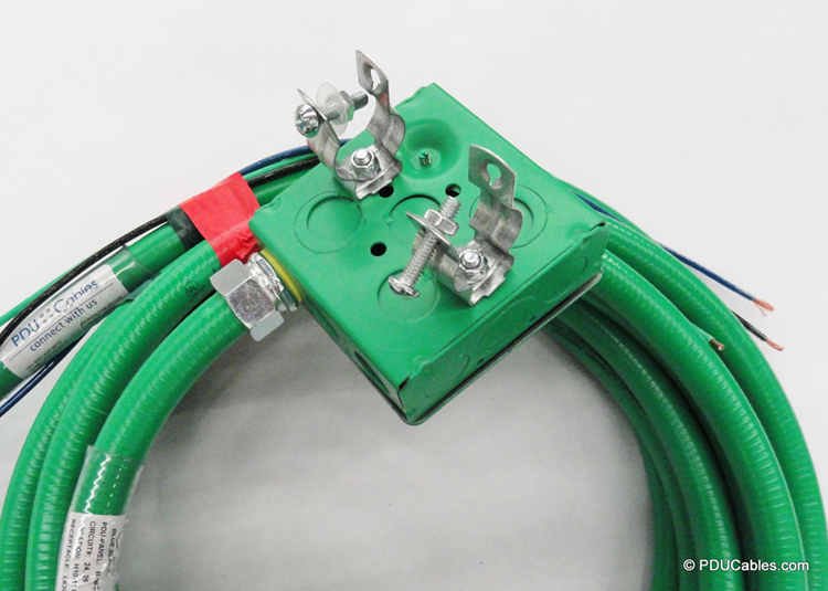 Color coordinated green 1900 style box, faceplate and conduit with dual pedestal clamp mounting hardware