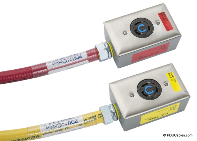 Colored faceplate labels match conduit color make for quick and easy circuit identification