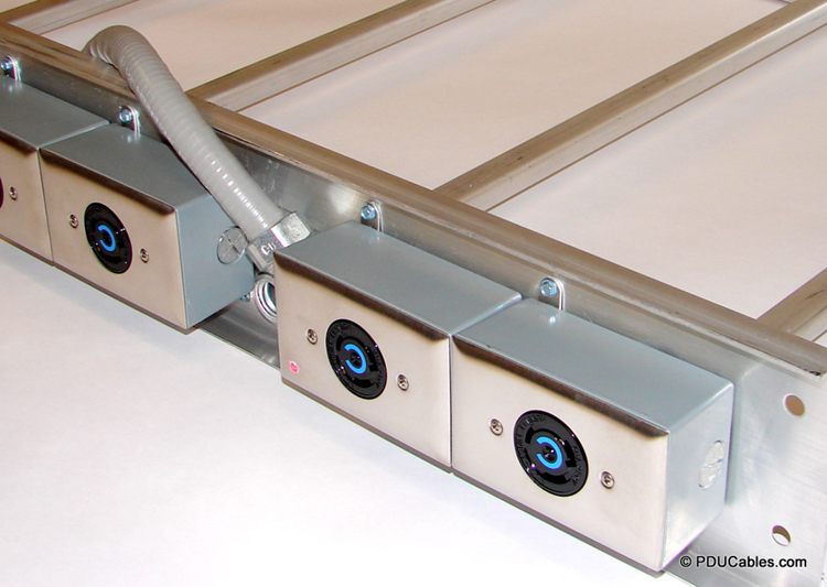 Multi-circuit data center power cables mounted to ladder rack with mounting ears