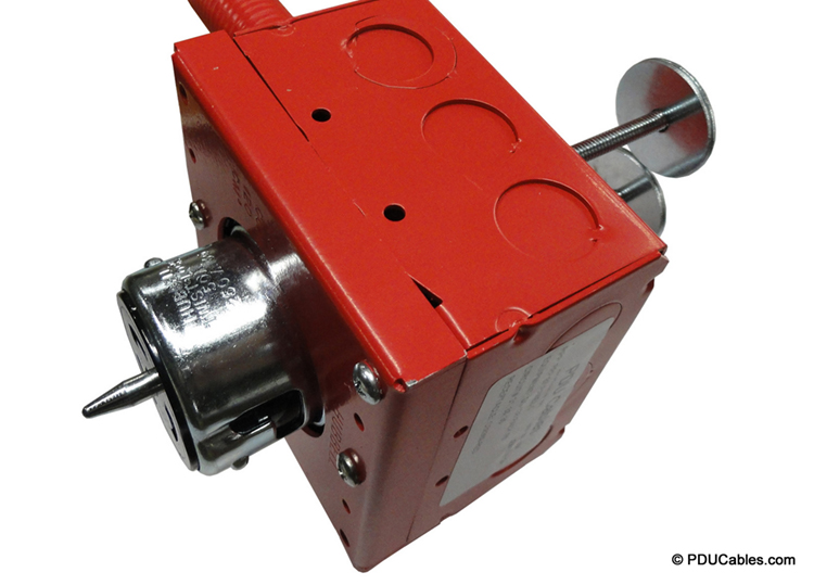 NEMA CS8369 50 amp locking device with color matched red 1900 style box, faceplate and conduit with dual uni-strut mounting bolts