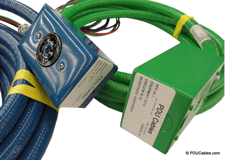 NEMA locking device in green and blue red dot box with box labels
