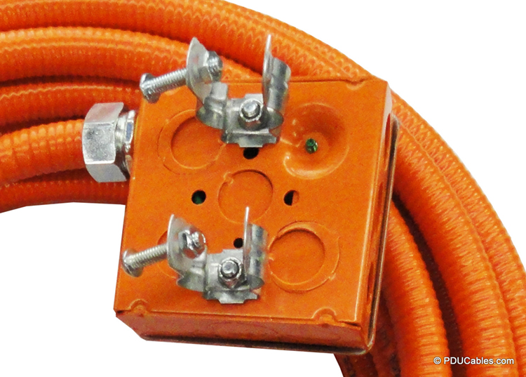 Dual pedestal clamp mounting bracket with nut on orange 1900 style box