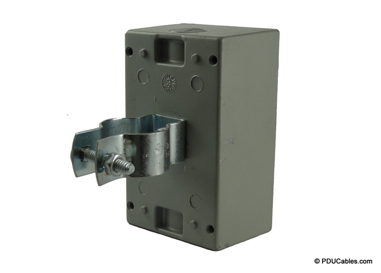 Pedestal clamp mounting bracket with nut on red dot box
