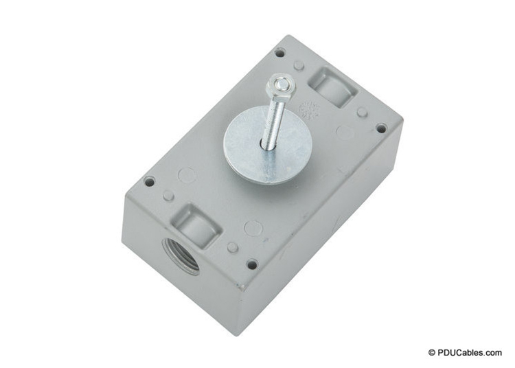 Uni-strut mounting bolt on a weatherproof box