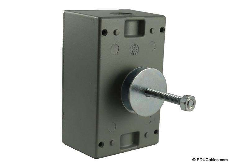 Uni-strut mounting bolt on a red dot box