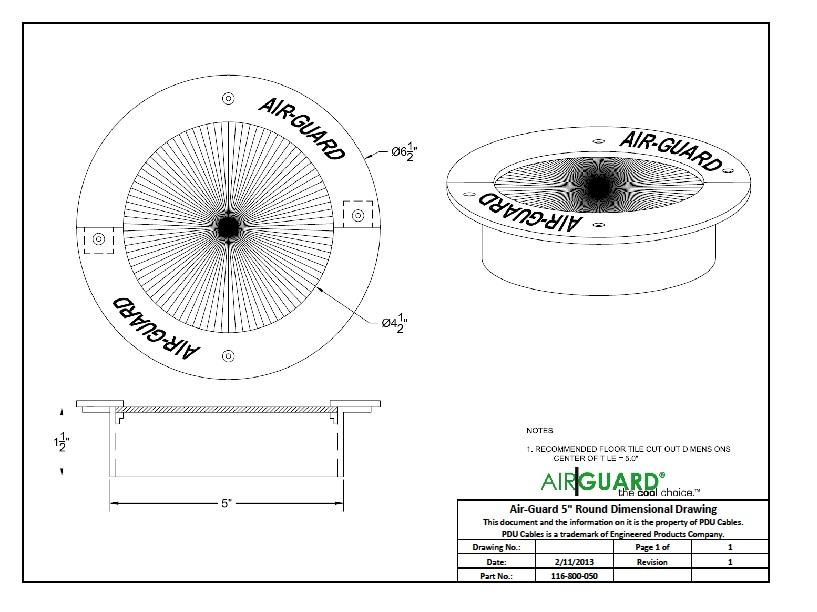 Airguard 5 Quot Round Floor Grommet Pdu Cables
