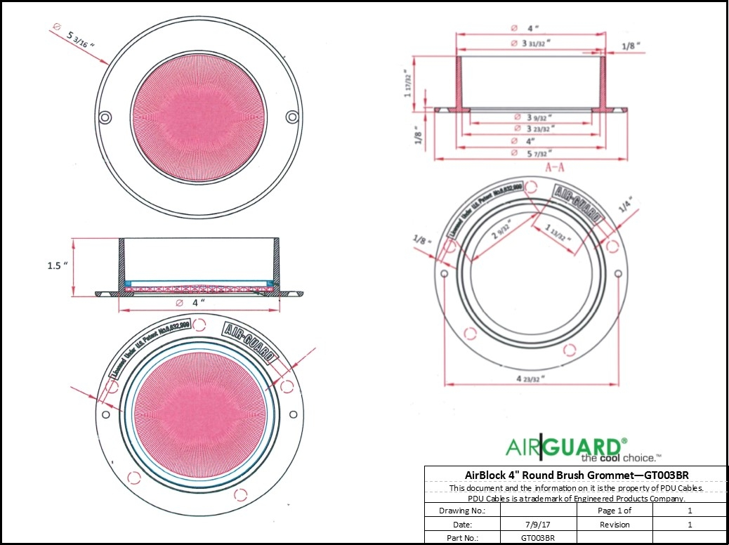 "AirGuard AirBlock 4"" Round Brush Grommet"