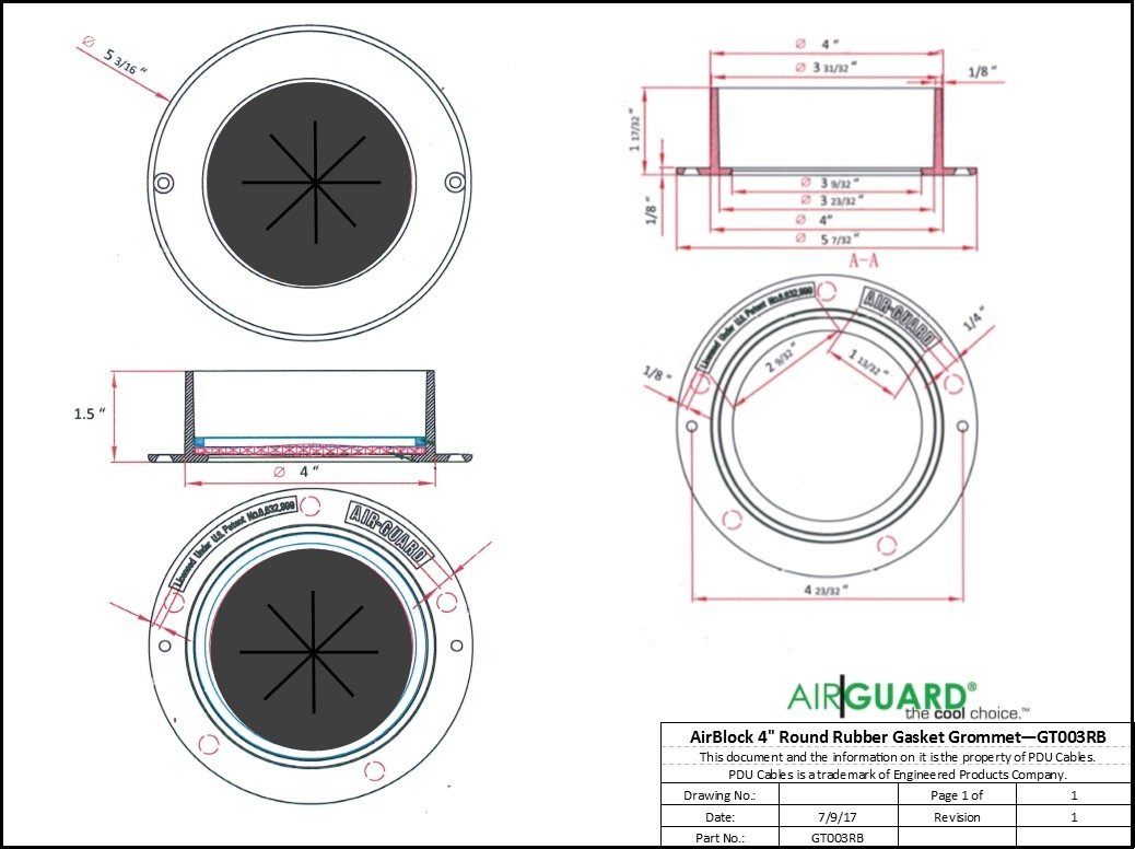 "AirGuard AirBlock 4"" Round EPDM Rubber Gasket Grommet"